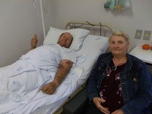 Gregório está com o quadro estável, mas em observação no CTI em Santa Rosa (Foto:  Lisandra Steffen/ Divulgação Hospital Vida e Saúde)