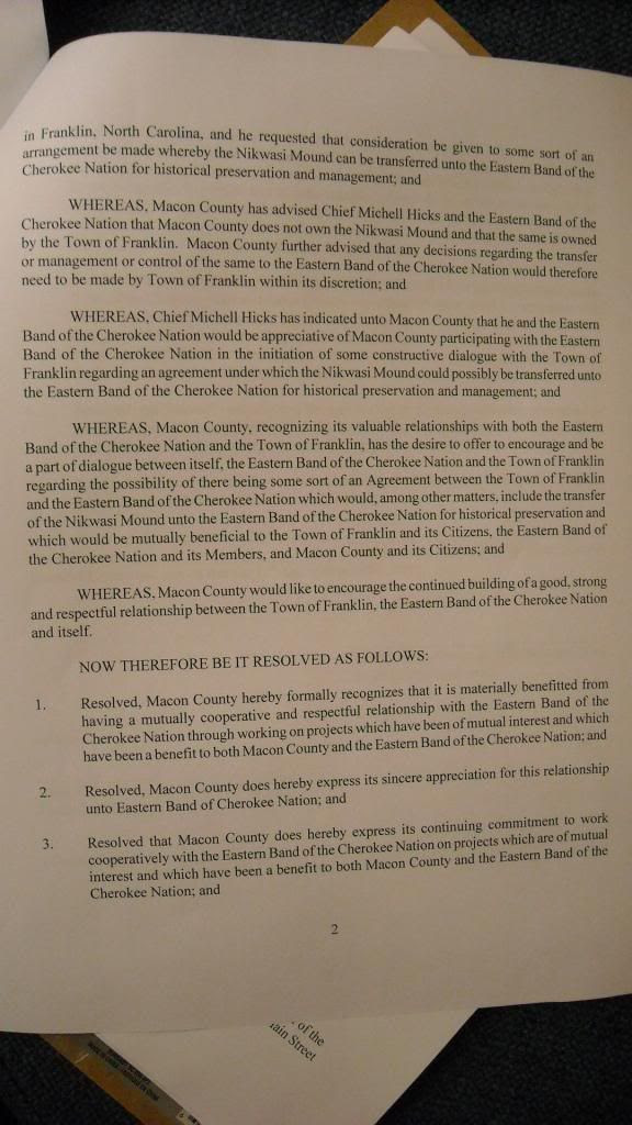 Page Two of Proposed Nikwasi Resolution