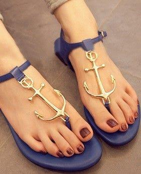 Morpheus Boutique  - Navy Mental Strap Flat Lady Sandals Shoes