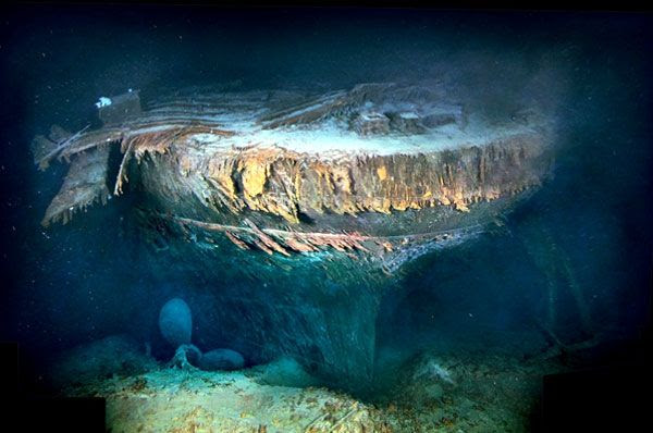 A glimpse of Titanic's stern...which is slowly being devoured by iron-eating bacteria on the Atlantic seafloor.