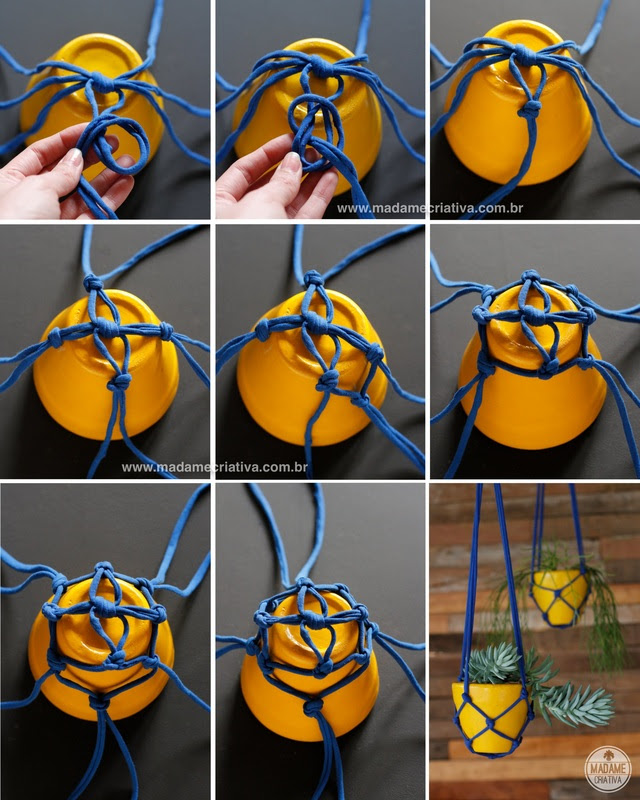 Πώς να κάνει κρεμαστά δοχεία με λωρίδες ματιών - Βήμα-βήμα με φωτογραφίες - Πώς να κάνει ένα στήριγμα για αγγεία με λωρίδες υφάσματος - DIY φροντιστήριο - Madame Creative - www.madamecriativa.com.br