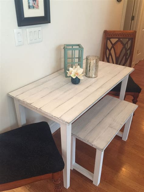small farmhouse table  small room bench  distressed