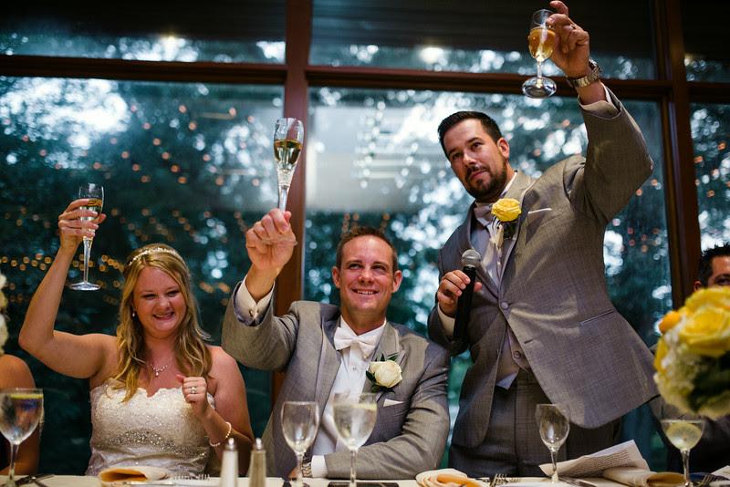 Speeches and toasts at a reception at The Hyatt Lodge at McDonald's Campus, Oak Brook Illinois, Grand Oaks Pavillion.