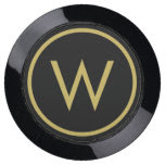 Personalize: Black and Gold Minimalist Initial USB Charging Station