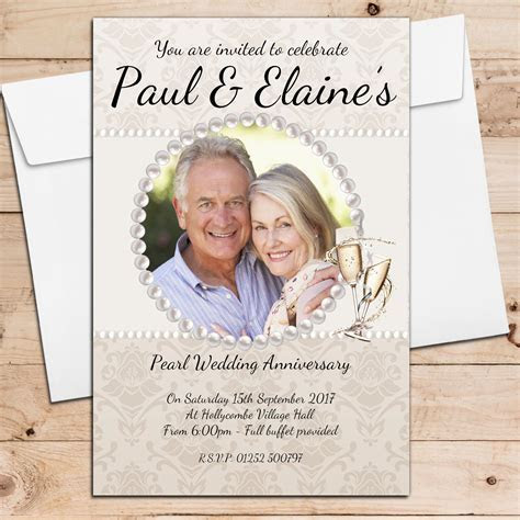10 Personalised 30th Pearl Wedding Anniversary Invitations N20