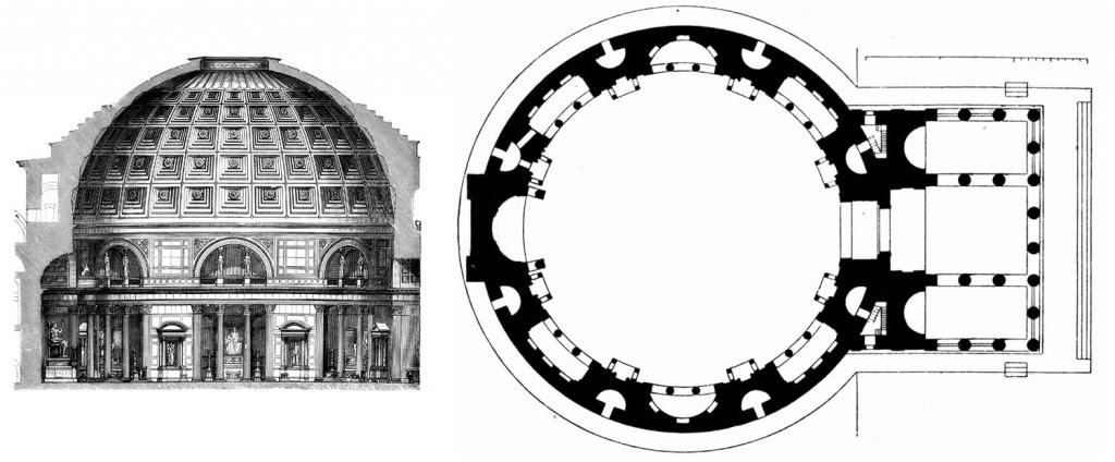 Dos planos del edificio, uno de sección y otro de planta.