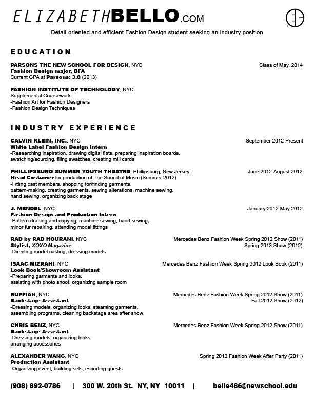 Fashion Design Resume Format Best Resume Examples