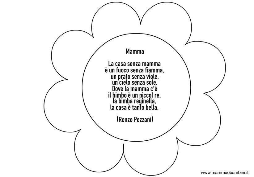Fiore Con Poesia Sulla Mamma Da Colorare Mamma E Bambini