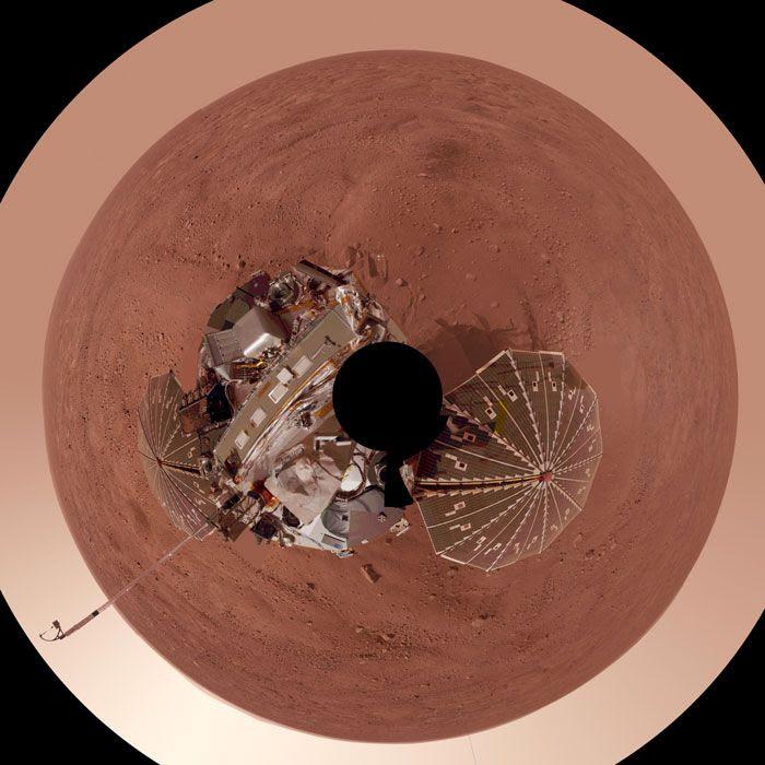A bird's-eye view of the Phoenix lander on Mars.