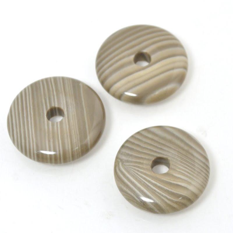 s48954 Stone - approx 35 mm Lucky Wheel Donut Pendant - Polish Flint