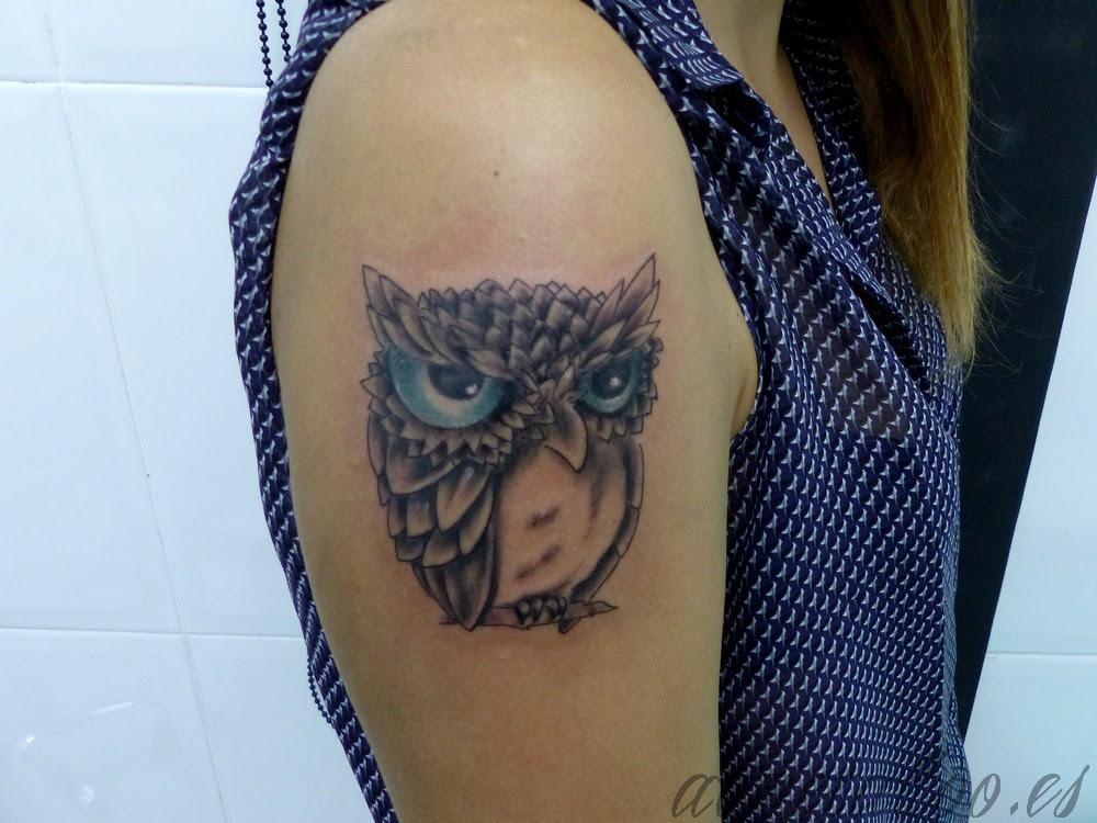 Buho Ojos Lechuza Rama Acme Tattoo Tatuaje Tatuajes Online