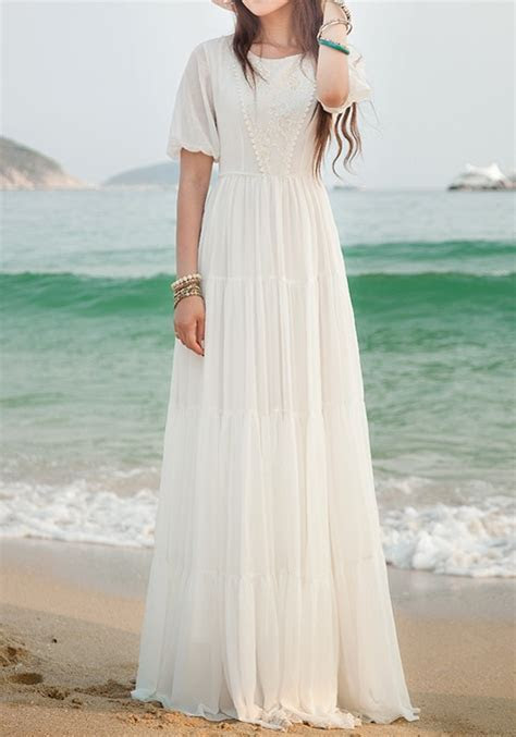 White Lace Side Pull Round Neck High Waisted Bohemian