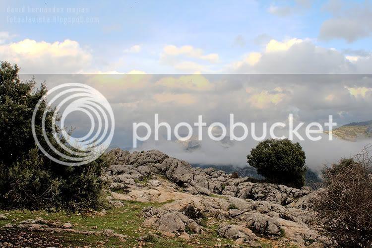 Paisaje de un barranco de los montes de Jaén, España, con un cielo cubierto de nubes y niebla que va cubriendo el fondo inexorable hasta no dejar ver el horizonte como si la nada lo llenara todo
