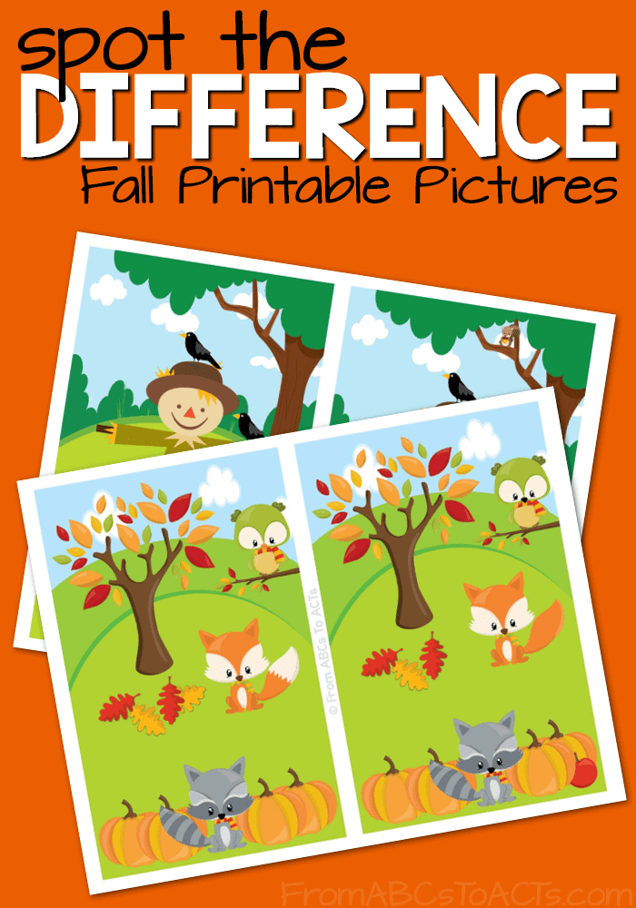 Printable Fall Spot the Difference Pictures | From ABCs to ...