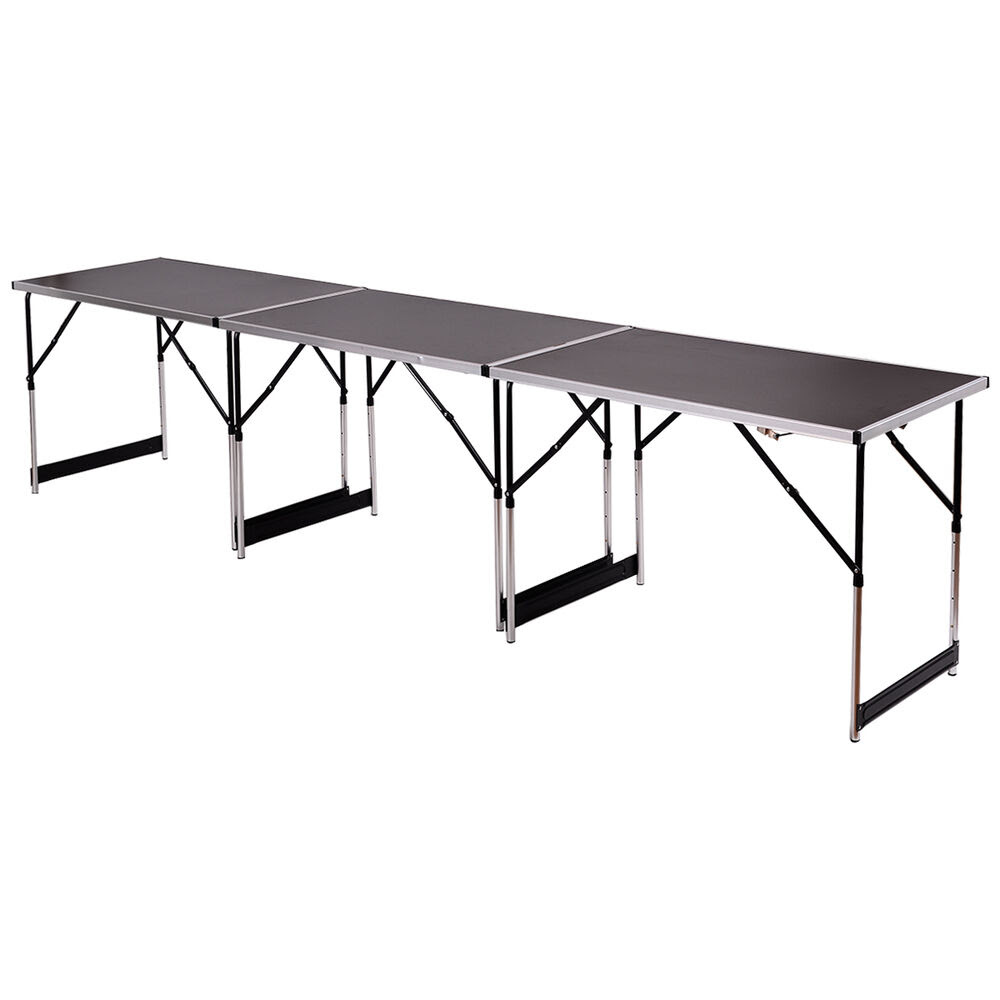 3PCS Height Adjustable Folding Table Indoor/ Outdoor Party ...