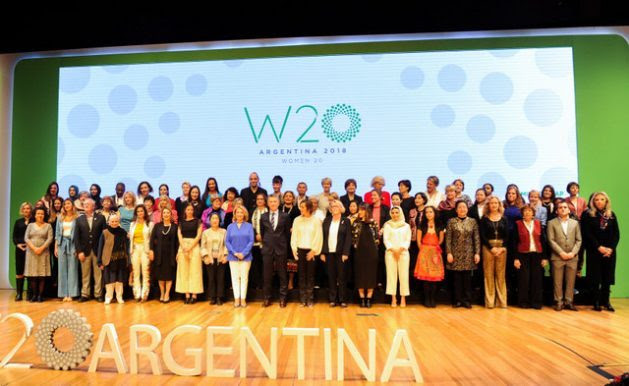 Group photo of the delegates who participated in the Women 20 Summit in Buenos Aires, after delivering their document of recommendations to Argentine President, Mauricio Macri (C). The proposals will form part of the agenda of the Group of 20 (G20) summit, to be held Nov. 30- Dec. 1 in the Argentine capital. Credit: G20