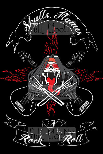 Skulls Flames Rocknroll T Shirt By Full Moony