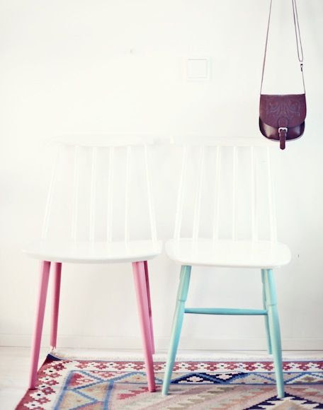 Paint-dipped white chairs - cute for a kiddo's room