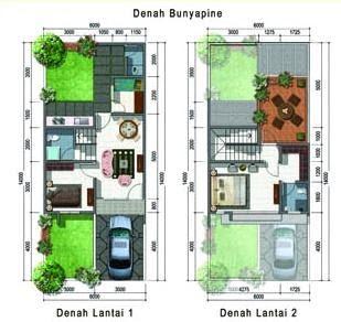 sketsa rumah minimalis 2 lantai type 45