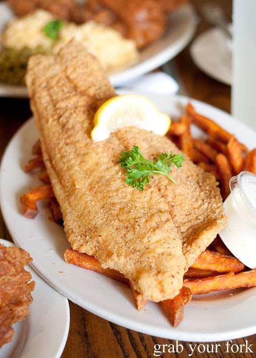 fried catfish with sweet potato fries at willie mae's scotch house new orleans louisiana