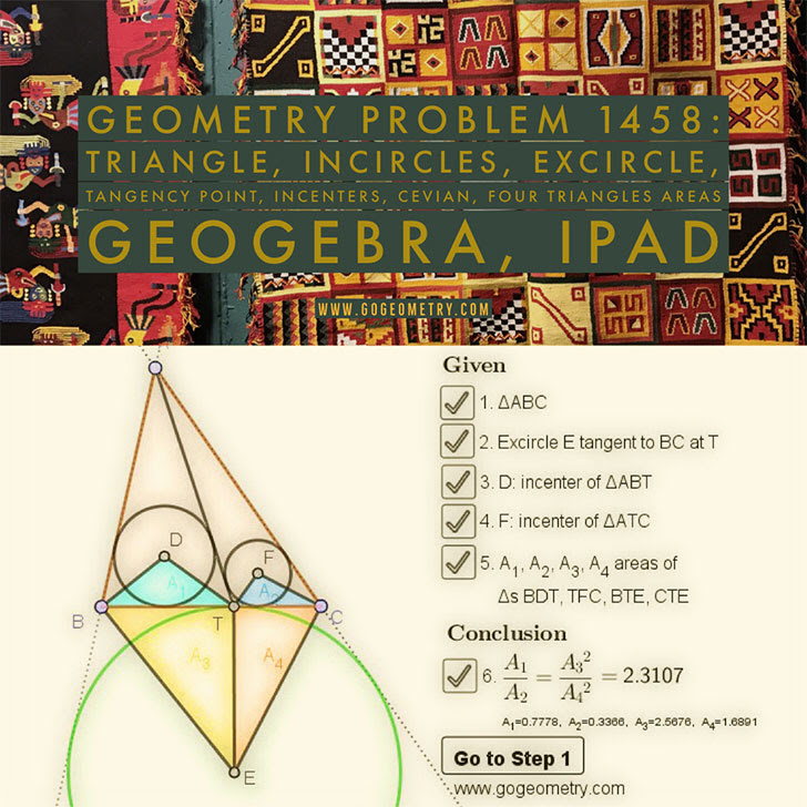 Geometry Problem 1458: Triangle, Incircles, Excircle, Area, Step-by-step Illustration, iPad.