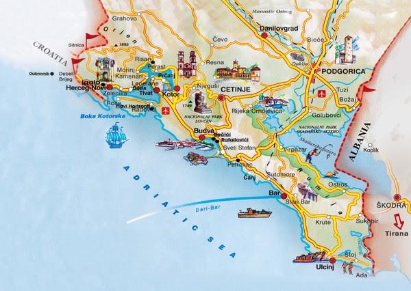 Montenegro coastal Map • mappery