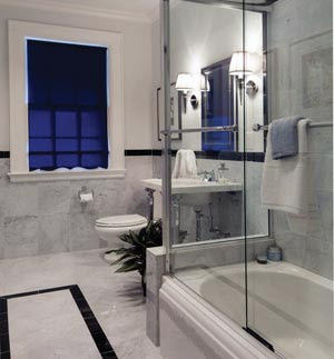 Bathroom Design Gallery on The Remodelers Selected A Heather Gray Marble For The Floor And Walls