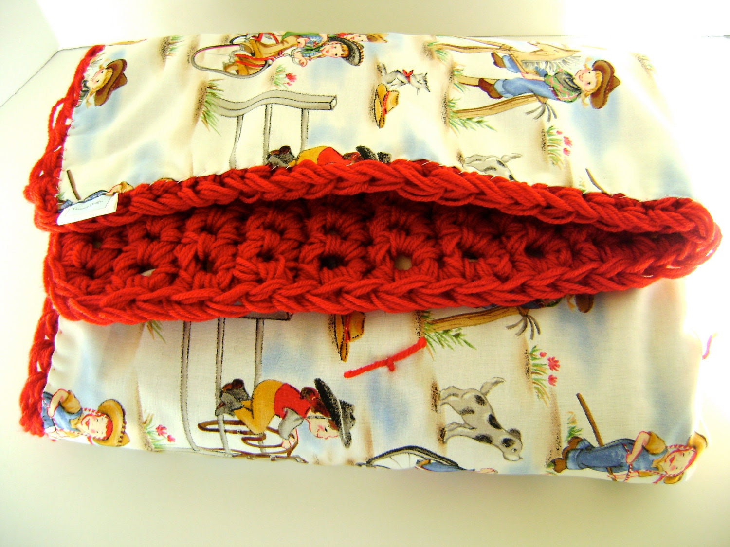Michael Miller - Reversible Hand Crocheted Crib Blanket - Lil' Cowgirl Great for Leo or Virgo Birthday
