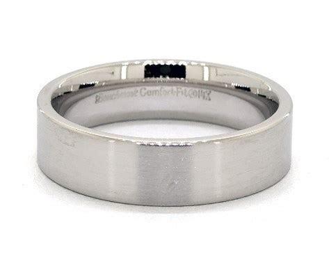 6mm Flat Satin Finish Comfort Fit Wedding Band   14K White