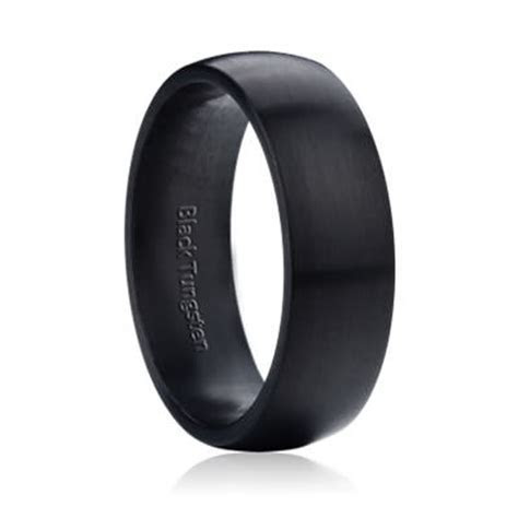 Wide Dome Matte Black Tungsten 8mm   Mens & Womens