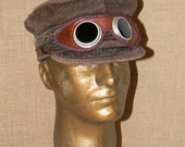 Quality Vintage Steampunk Style Corduroy Cap with Antique Tinted Glass and Leather Goggles