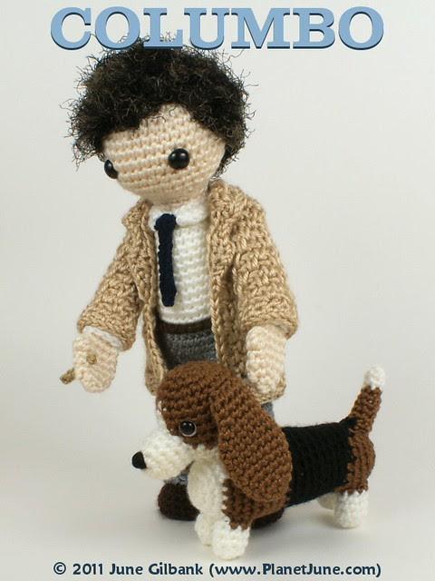 crocheted Lt Columbo and Dog