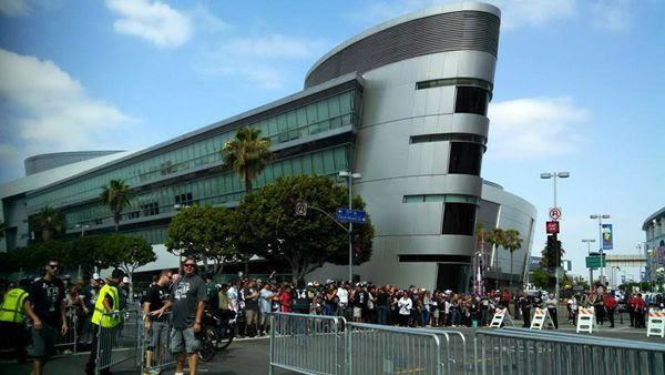 Crowds gather outside of STAPLES Center in preparation for the Los Angeles Kings' Stanley Cup championship parade...on June 16, 2014.