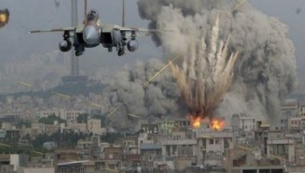 Saudi piloted U.S. warplanes bomb Yemen's cities.