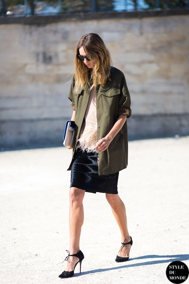 Le Fashion Blog Paris Street Style Candela Novembre Green Army Jacket Blush Feather Top Black Skirt Jimmy Choo Ankle Tie Heels Style Du Monde photo Le-Fashion-Blog-Paris-Street-Style-Candela-Novembre-Green-Army-Jacket-Blush-Feather-Top-Black-Skirt-Jimmy-Choo-Ankle-Tie-Heels-Style-Du-.jpg