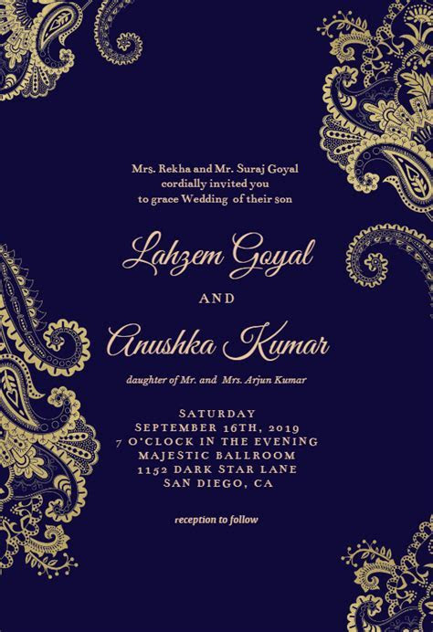 Elegant Henna   Wedding Invitation Template (free