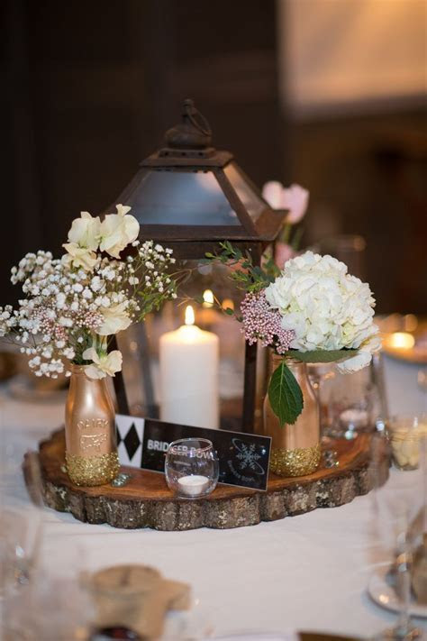 Rustic Lantern and Tree Trunk Centerpieces   Bridal