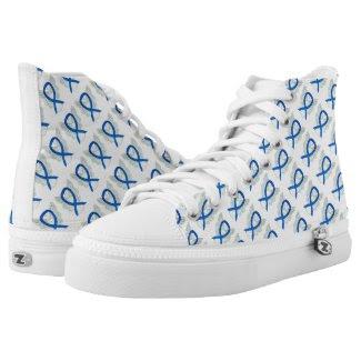 Blue Awareness Ribbon Angel Custom High Tops Printed Shoes