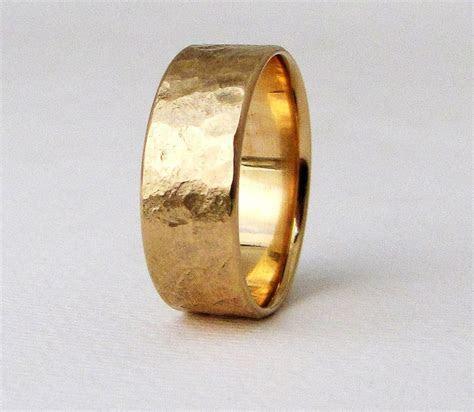 Mens Wedding Band Men's Gold Wedding Ring Rustic Mens