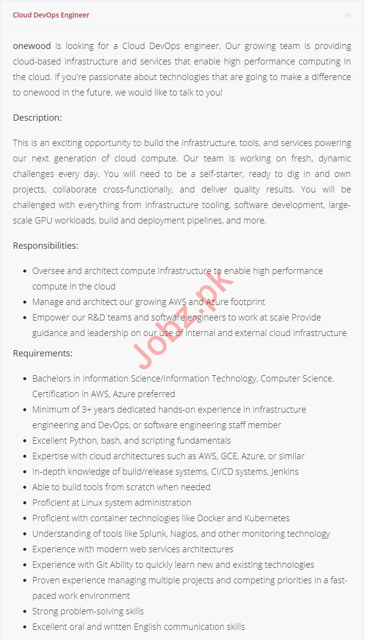 Cloud DevOps Developer Jobs 2019 in Lahore