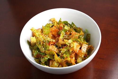Shredded Romaine in a Korean Sesame Vinaigrette