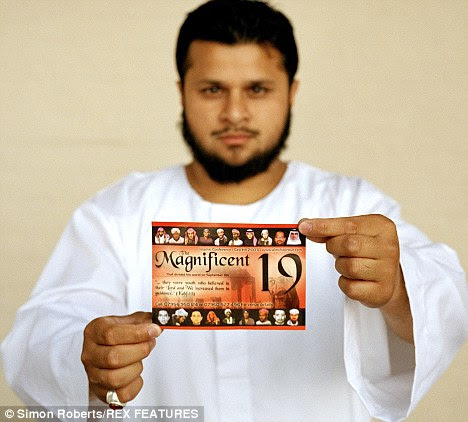 Abu Yahya aka Abdul Rahman Saleem, spokesperson for the Al Muhajiroun group, holds a flyer for the' Magnificent 19' conference that is being held on Sept 11