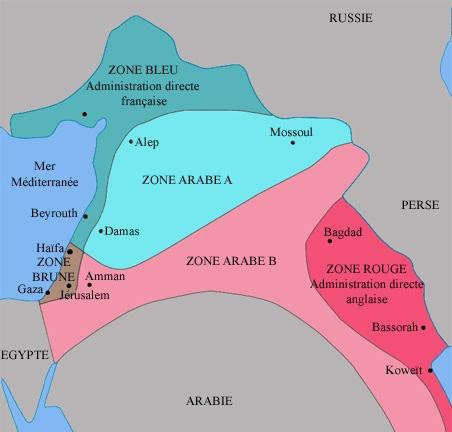 Carte des accords Sykes-Picot, selon Wikipédia