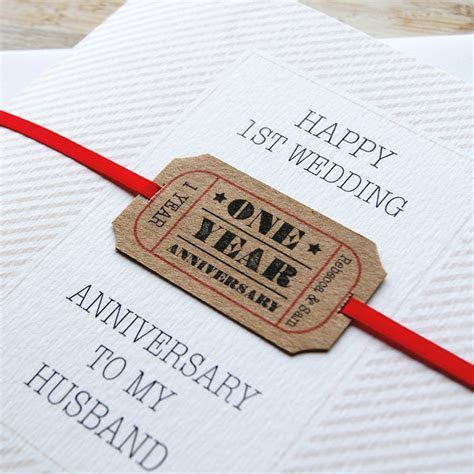 personalised first wedding anniversary card by button box