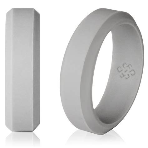 Knot Theory Non Bulky Silicone Wedding Band in Light Grey