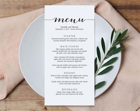 Wedding Menu Printable Template Printable Menu Menu