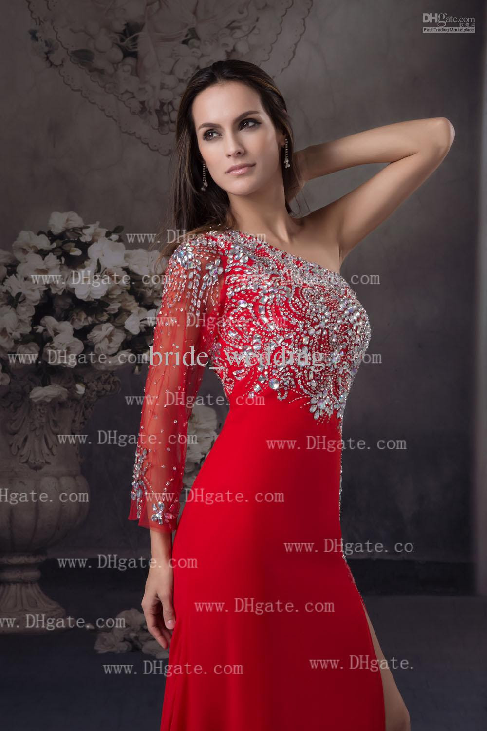 Red evening dress with split