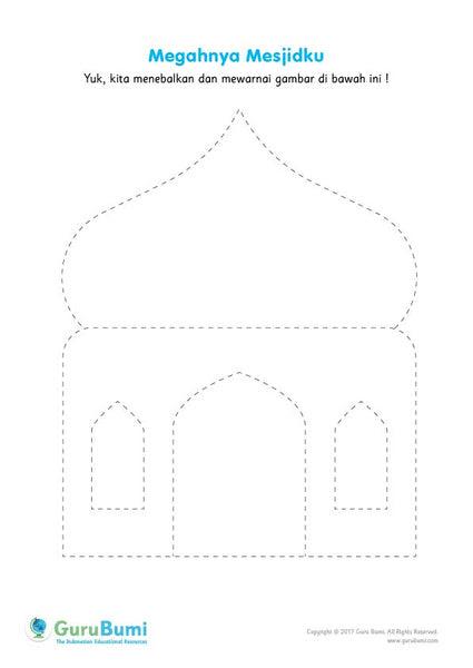 Mewarnai Gambar Masjid Untuk Anak Tk Bagikan Contoh