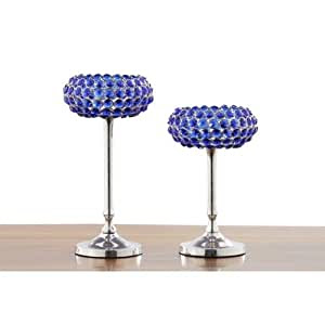 Amazon.com: 2 Pc Crystal Candle Holders Set in Blue: Home ...