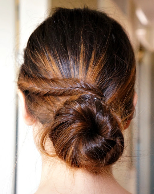 homecoming updo with a big low bun